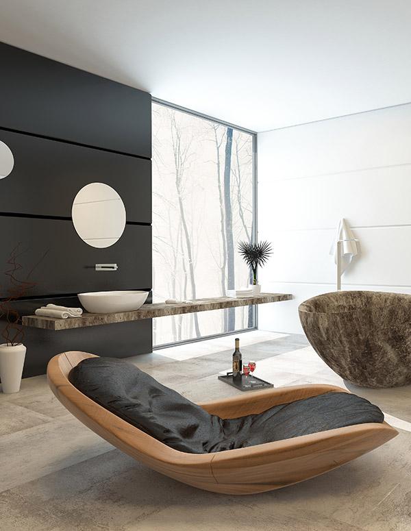 Contemporary design in a luxury bathroom interior