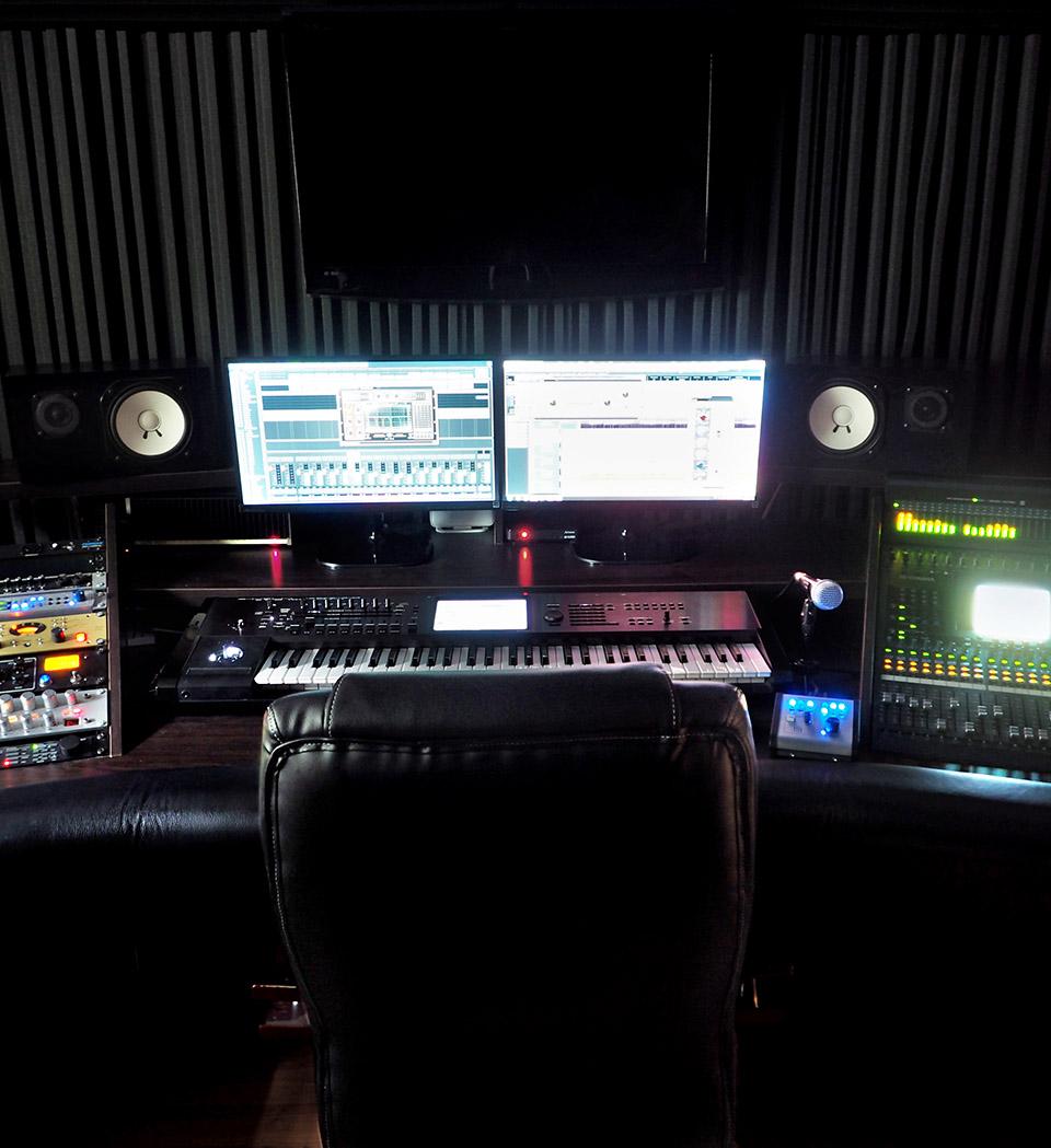Sound Recording Studio With Music Recording Equipment